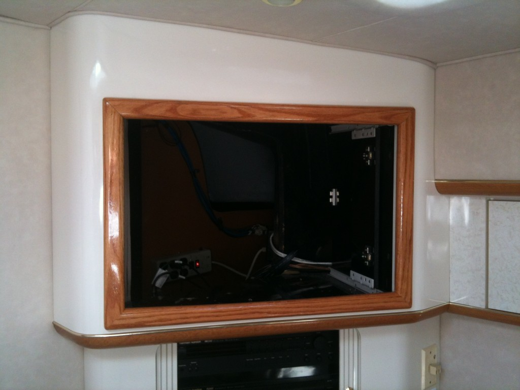 custom tv installation, color matched wood working